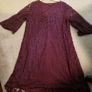 Bell-Sleeve Maroon Lace Dress